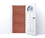 за дверью кирпича раскройте стену Стоковое Изображение