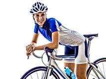 Задействовать велосипедиста спортсмена ironman триатлона женщины Стоковые Фотографии RF