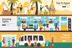 Задействуйте к сети концепции семейного отдыха визирований Египта изумляя плоско внутренней внешней Стоковое фото RF