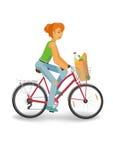 Задействуя женщина с продуктовой сумкой Стоковые Изображения