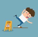 Задействуя знак предосторежения опасности Опасность спотыкаться изолированного illust иллюстрация штока