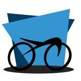 Задействуя значок на геометрической голубой предпосылке Стоковое Изображение