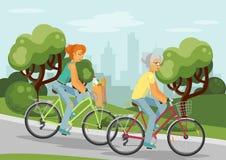 Задействуя пожилые люди и молодые женщины в городе Стоковое Изображение