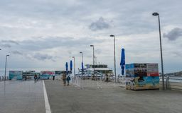 Залив Баку, пристань для идя шлюпок Стоковые Фотографии RF
