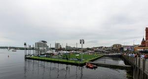 Залив a Кардиффа с типичным тангажом чемпионов Стоковая Фотография