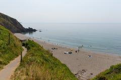 Залив Корнуолл Англия Whitsand пляжа Portwrinkle Стоковое Фото