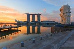 Залив Марины и Merlion, Сингапур стоковое фото rf