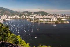 Залив пляжа и Guanabara Botafogo, Рио-де-Жанейро,  Стоковое фото RF