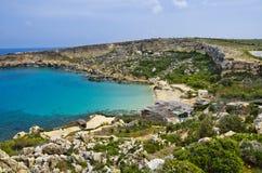 Залив рая, Мальта Стоковое Изображение