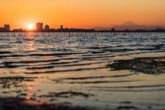 Залив токио на районе Funabashi и Mt fuji Стоковая Фотография