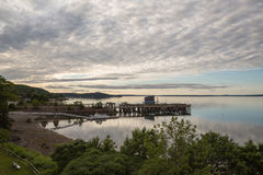 Залив француза на сумраке на гавани Мейне США бара стоковые изображения rf