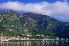 Залив, Эгейское море и горы Turunc Стоковая Фотография RF
