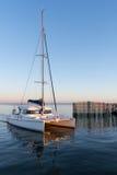 Залив Arcachon, Франция, гавань Andernos на заходе солнца Стоковое Фото