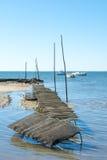 Залив Arcachon, Франция, кровать устрицы Стоковая Фотография RF