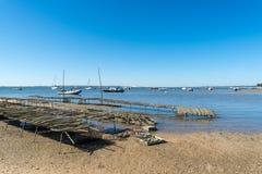Залив Arcachon, Франция, кровать устрицы Стоковое фото RF