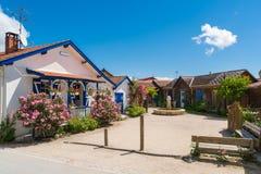 Залив Arcachon, Франция, место деревни l ` Herbe, фретки крышки стоковое фото