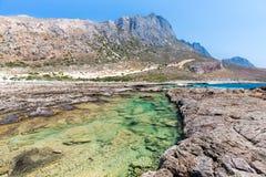 Залив Balos. Взгляд от острова Gramvousa, Крита в водах бирюзы Greece.Magical, лагунах, пляжах чисто белого песка. стоковое фото rf