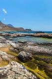 Залив Balos. Крит в водах бирюзы Greece.Magical, лагунах, пляжах чисто белого песка. стоковое изображение rf