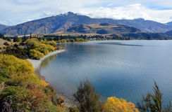 Залив Glendhu в осени, Otago Новой Зеландии Стоковое фото RF