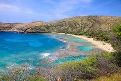 Залив Hanauma в Гаваи стоковое изображение