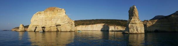Залив Kleftiko, Milos остров, Греция Стоковое Изображение RF