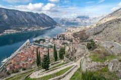 Залив Kotor, Черногории. Kotorska Boka. Стоковое фото RF
