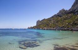 Залив Sormiou в Calanques около марселя в южной Франции Стоковое Изображение