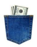 заднее карманн голубых джинсов Стоковая Фотография