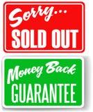 задние деньги гарантии вне подписывают проданный огорченный магазин Стоковое фото RF