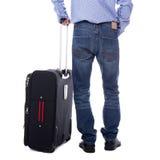 Задний взгляд бизнесмена стоя при чемодан изолированный на whi Стоковые Изображения