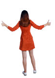 Задний взгляд больших пальцев руки женщины вверх Стоковые Изображения RF