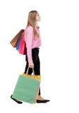 Задний взгляд идя женщины с хозяйственными сумками Стоковые Изображения
