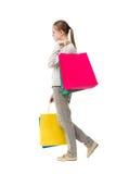 Задний взгляд идя женщины с хозяйственными сумками Стоковое фото RF