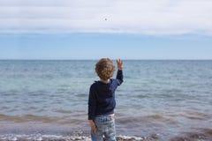 Задний взгляд камня throwig мальчика в воде Стоковые Изображения
