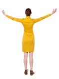 Задний взгляд красивой женщины в платье смотря стену и владения Стоковое Изображение RF
