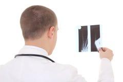 Задний взгляд молодого доктора анализируя рентгеновский снимок изолированный на белизне Стоковые Фотографии RF