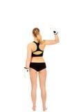 Задний взгляд перчаток бокса женщины фитнеса бокса нося белых Стоковые Фотографии RF