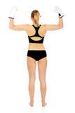 Задний взгляд перчаток бокса женщины фитнеса бокса нося белых Стоковая Фотография RF