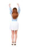Задний взгляд радостной женщины празднуя руки победы вверх Стоковые Фотографии RF