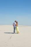 Задний взгляд любящей пары среди белой пустыни стоковые изображения rf