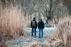 Задний взгляд людей стоя на дороге в лесе Стоковая Фотография RF