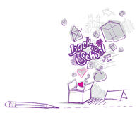 задняя коробка doodles предметы вне обучает к Стоковое Изображение RF