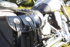 Задняя часть мотоцикла кожа мешка черная Стоковые Фотографии RF