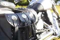 Задняя часть мотоцикла кожа мешка черная Стоковые Изображения RF