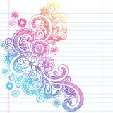 Задняя часть цветков схематичная к вектору Illus Doodle школы Стоковое Фото