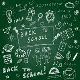 задняя часть doodles школа к Нарисованные рукой установленные значки школы Установленные значки школы эскиза также вектор иллюстр Стоковая Фотография RF