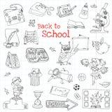 задняя часть doodles школа к Стоковая Фотография