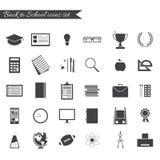 задняя школа иконы установленная к Стоковые Изображения RF