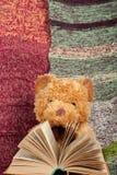 задняя школа к связанное одеяло Плюшевый медвежонок читая открытую книгу hardback Скопируйте космос для текста Стоковая Фотография