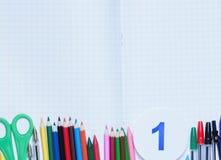 задняя школа к Справочная информация поставкы школы различные стоковое изображение rf